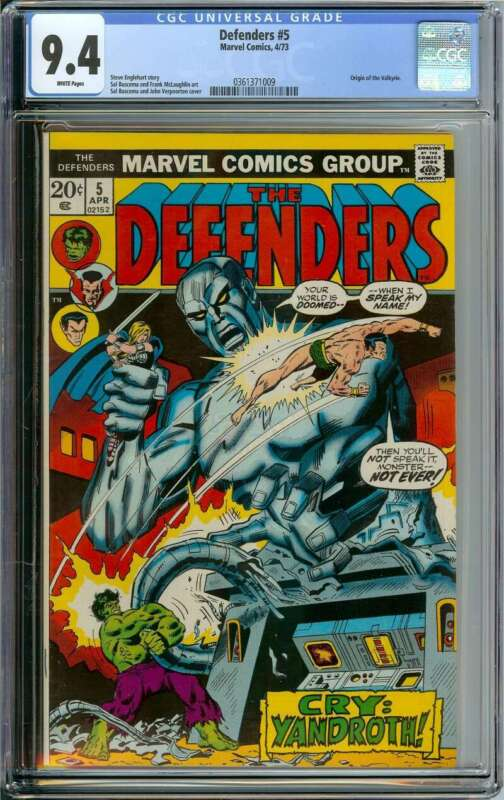 DEFENDERS #5 CGC 9.4 WHITE PAGES