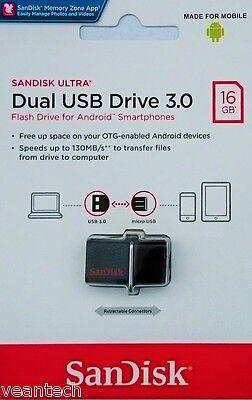 Sandisk Ultra 16GB Dual USB 3.0 micro USB OTG Stick 130MB/S SDDD2-016G NEU & OVP online kaufen