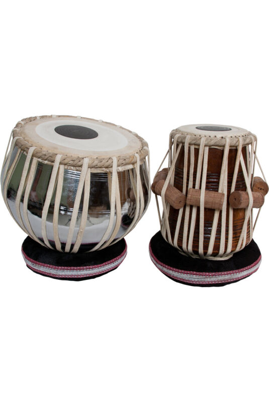 "banjira Pro Tabla Set Nickel Plated Brass Bayan and 5.25"" Dayan"