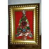 Jewelry Art Christmas Tree in Vintage Estate Frame, signed by Artist