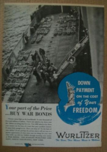 Wurlitzer Sep 1944 WWII patriotic Ad- Buy War Bonds/beachhead casualties D-Day?
