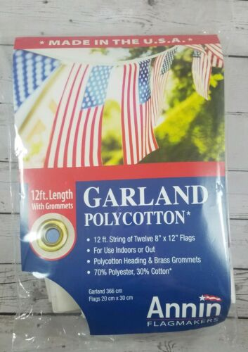 flagmakers 12 foot garland with 8 x