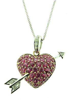 9 Ct White And Rose Gold Heart And Arrow Necklace With Pink Sapphires & Diamonds