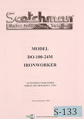 Scotchman Model Do-100 24m Ironworker Owner Manual Year 2003
