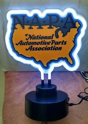 Vintage Style Napa Auto Parts Light Up Neon Table Top Advertising Sign