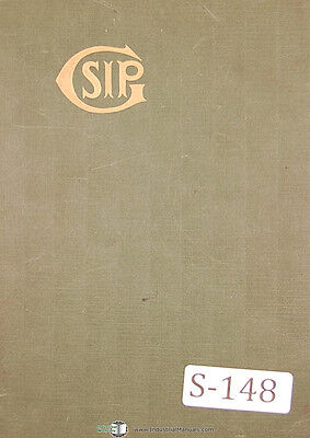 Sip 7p Hydroptic Boring Machine Technical Operations Manual 1952