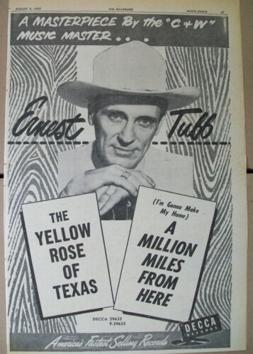 Ernest Tubb 1955 Ad- The Yellow Rose Of Texas/A Million Miles From Here  Decca