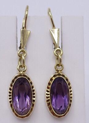 Antike Art Deco 585 Gold Amethyst Hänge Ohrringe um 1940 D501