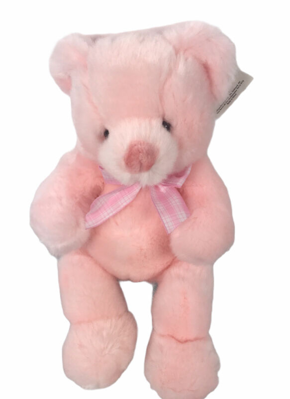 """Russ Pink Baby Girl Rattle Bear Puffs Gingham Bow Infant 12"""" Plush Nursery"""