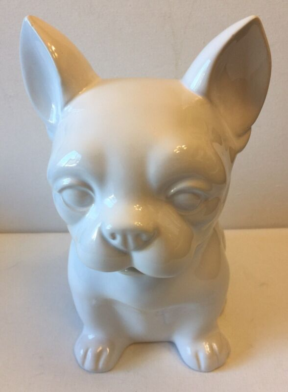 French Bulldog White Ceramic Figurine