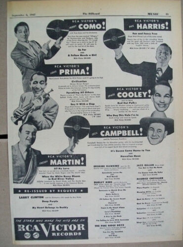 Cecil Campbell Spade Cooley Phil Harris Louis Prima 1947 Ad- RCA Victor