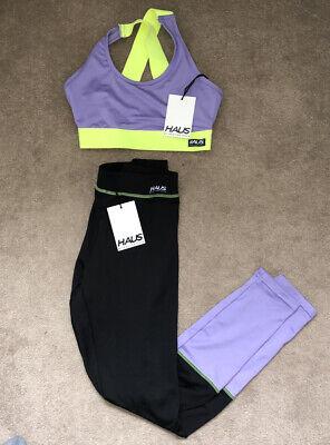 Hoxton Haus Gym Set Leggings , Sports Bra Neon Green And Purple XS