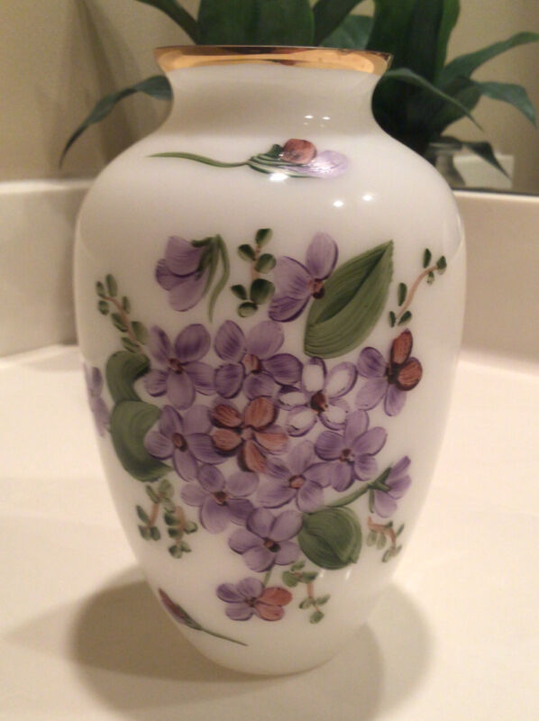 """Vintage Consolidated Glass White Vase Gold Rim with Hand Painted Violets 6.5"""""""