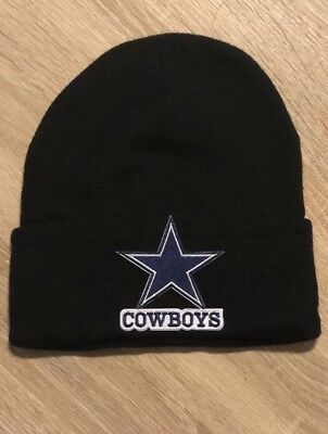 DALLAS COWBOYS Beanie Embroidered Patch BLACK Football Toboggan Winter NFL Romo Dallas Cowboys Embroidered Football