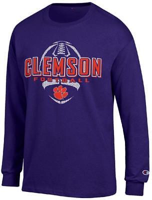 Clemson Tigers Purple Football Long Sleeve Tee Shirt by Champion