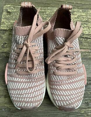 Womens Adidas Originals NMD R1 Primeknit STLT ASH PINK Running walking 7.5 EUC
