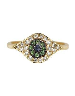 Gorgeous designer 18K RG White Diamond Pavé with Iris & Blue Sapphire Pupil