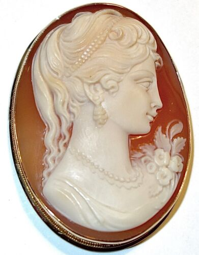 "MAGNIFICENT Antique 18K GOLD Carved 1-3/4"" SHELL CAMEO PENDANT~8.2 GRAMS!"