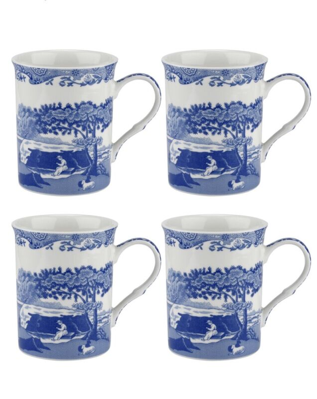 Spode Blue Italian Coffee Cups Mugs Set of Four 12 Oz. New/Box 4 Sets Available