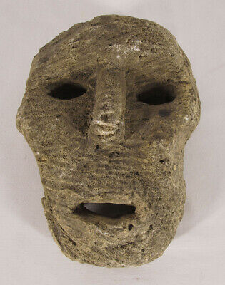 Antique Oceanic Fossilized Stone Mask Atonis People Timor Island Oceania NR yqz