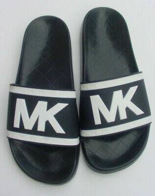 Michael Kors Damen Cate Rutschen Mk Logo Schwarz/Weiß Slip auf PVC Sz 8 Neu