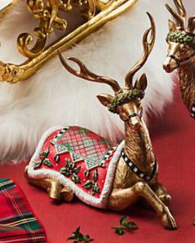 MACKENZIE CHILDS Sitting ABERDEEN REINDEER Deer Christmas GOLD NEW $135