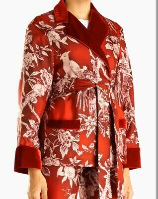 For Restless Sleepers F.R.S Fall 2018 Red Silk Velvet Bird Print Women's Jacket
