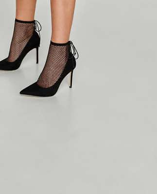 So sexy!! Zara pump HIGH HEEL SHOES WITH MESH-black-ref 6232/201-size 6-NEW!