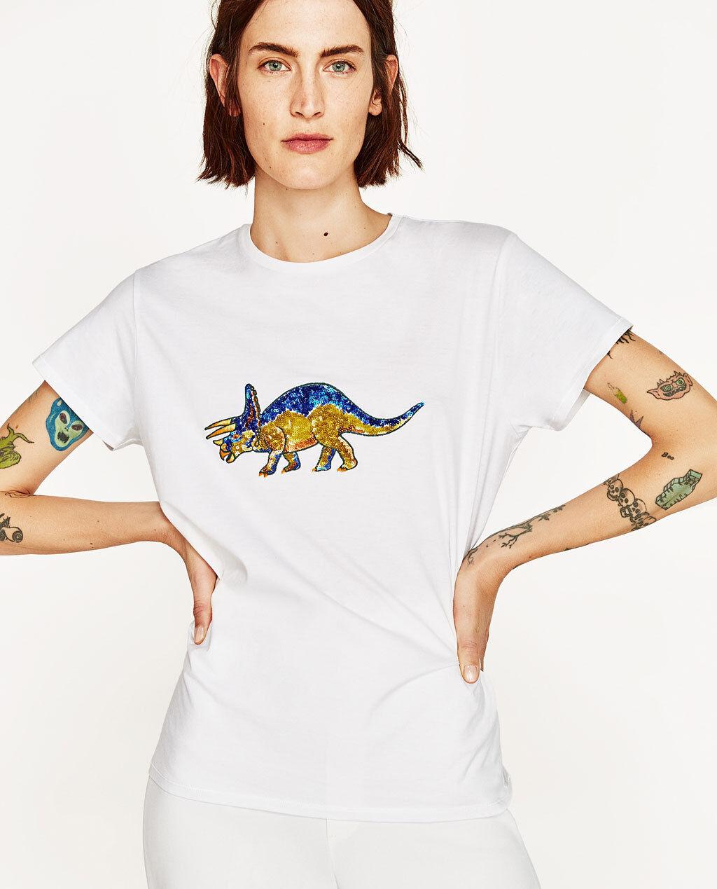 7600b43371 ZARA Dinosaur Applique Short Sleeve T-Shirt Details Woman Authentic 2654/055