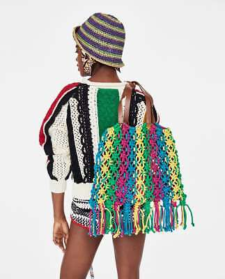 ZARA STUDIO NEW SS 2018 MULTICOLOURED BRAIDED BUCKET BAG REF. 1070/304 for sale  Shipping to Ireland