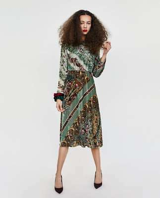 80c4ecd9 ZARA GREEN VELVET PRINTED FLORAL MIDI DRESS AW17 SIZE XS (EXTRA SMALL) NEW  TAGS