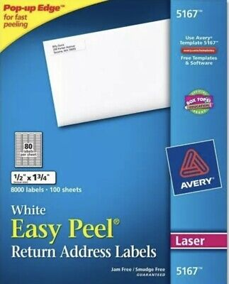1 New Box 8000 Avery 81675167 Return Address Shipping Labels 12 X 1 34