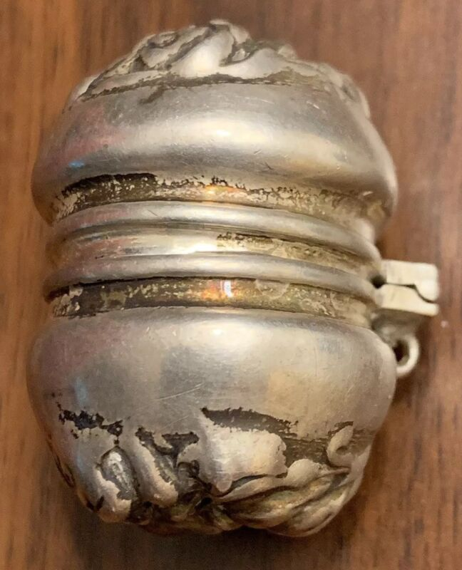 Antique Sterling Thimble Holder, Chatelaine, Repousse Design