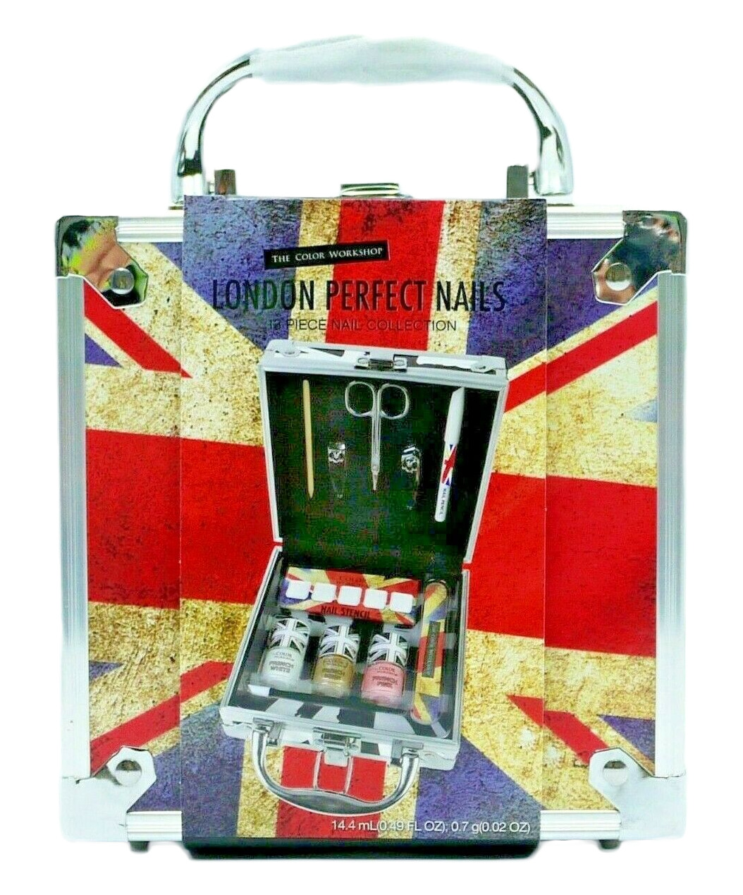 London Perfect Nails 13 Piece Gift Set in Union Jack Vanity Case French Manicure