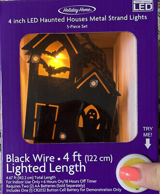 Black Wire LED String Light Garland, 4ft - Halloween Haunted House, 5 Houses
