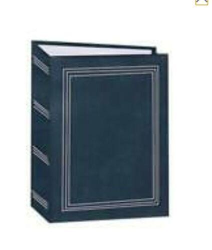 100 Book Bound Picture Photo Album (Dark Blue with Gold Border)