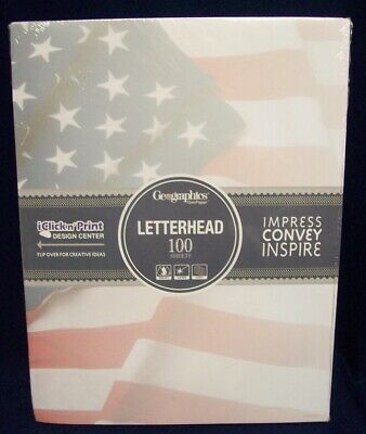 Office Supplies GEOGRAPHICS GEOPAPER AMERICAN FLAG LETTERHEAD PAPER 100 COUNT ()