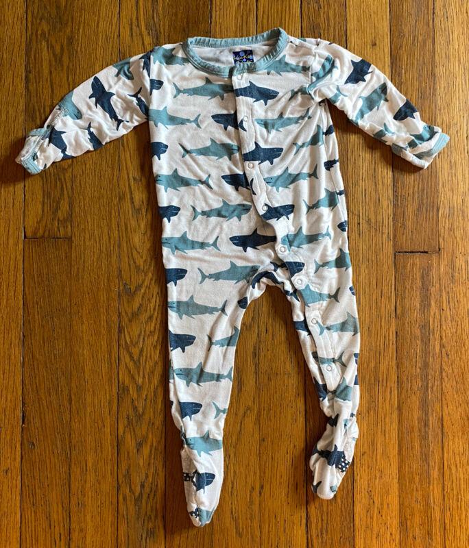 KicKee Pants Sharks Snap Footie Pajamas Sleeper Baby Boys Girls 6-12 Months