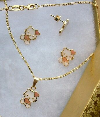 10 Wholesale Lot 18K GOLD Filled Pink HELLO KITTY HEART Necklace & Earrings Set