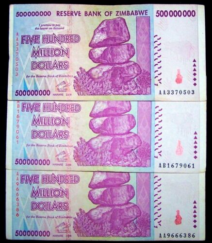 3 x Zimbabwe 500 million dollar banknotes-circulated collectible currency