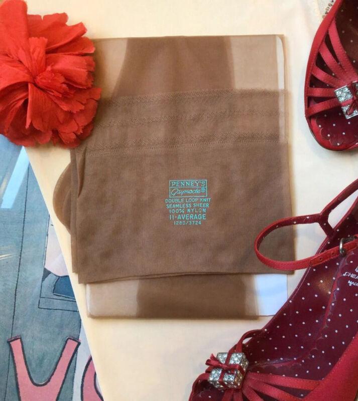 "vintage RHT nylon stockings  - Gaymode - flat knit 15 den Size 11M 35"" Long"