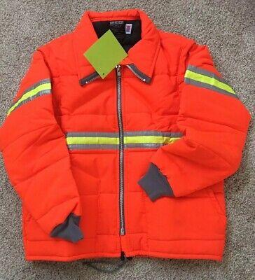 Orange Hi-Vis Insulated Safety Line Parka Vest Reflective Jacket ROAD WORK USA Hi Vis Parka