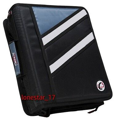 Case-it Zipper Binder The Z Double 1 12 D Ring Binder Strap Handle Black 3