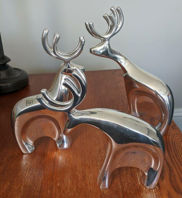 Nambe Holiday Blitzen Reindeer Figures 3pc. Set