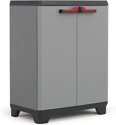 Garden Shed Garage Storage Box 2 Doors Plastic Low Cabinet Shelves Grey Outdoor