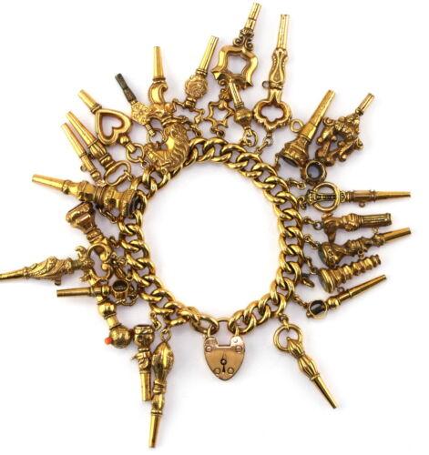 ANTQ Edwarian 1907 9ct Gold Heart Lock Chain Pocket Watch Key Charm Bracelet