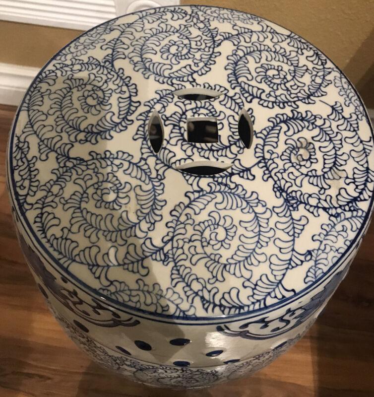"Vintage Blue & White Chinese Porcelain Garden Stool 18"" Tall"