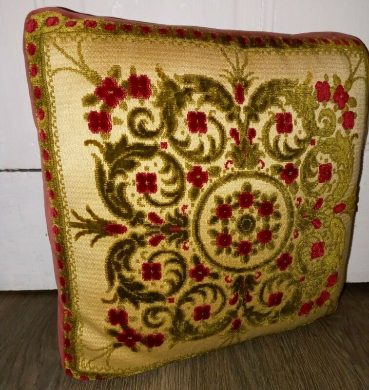 "Vintage Velvet Floral Needlepoint Accent Pillow Red Green Cream 13"" x 13"""