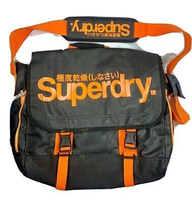 Superdry Pop Tarp 15.6L Laptop Messenger Bag Black Orange Crossbody Strap