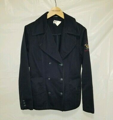 TOMMY HILFIGER WOMENS SMALL S BLUE JACKET Jeans VINTAGE COAT Military Style  ()